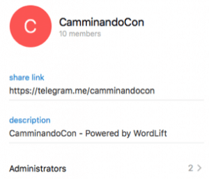Telegram Camminando Con | WordLift
