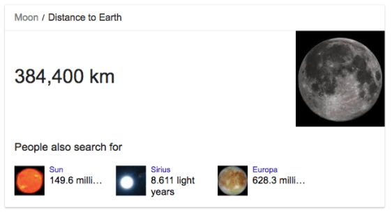 Distance of the moon from earth - Google Knowledge Graph