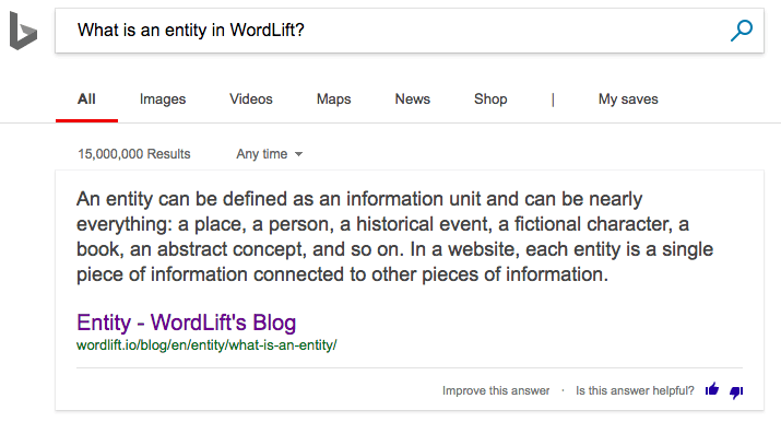 Instant Answer Bing - What is an entity in WordLift