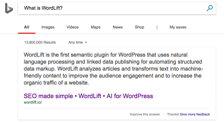 Instant Answer on Bing - What is WordLift