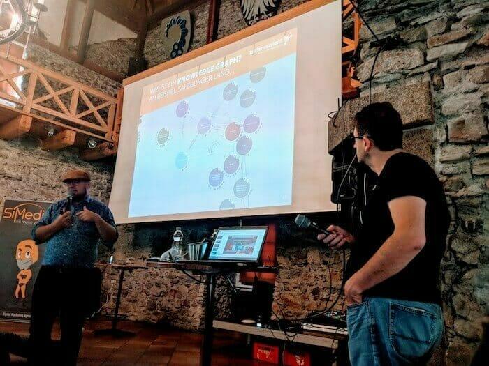 Florian Bauhuber presenting SLT Knowledge Graph at Castelcamp Kaprun 2018