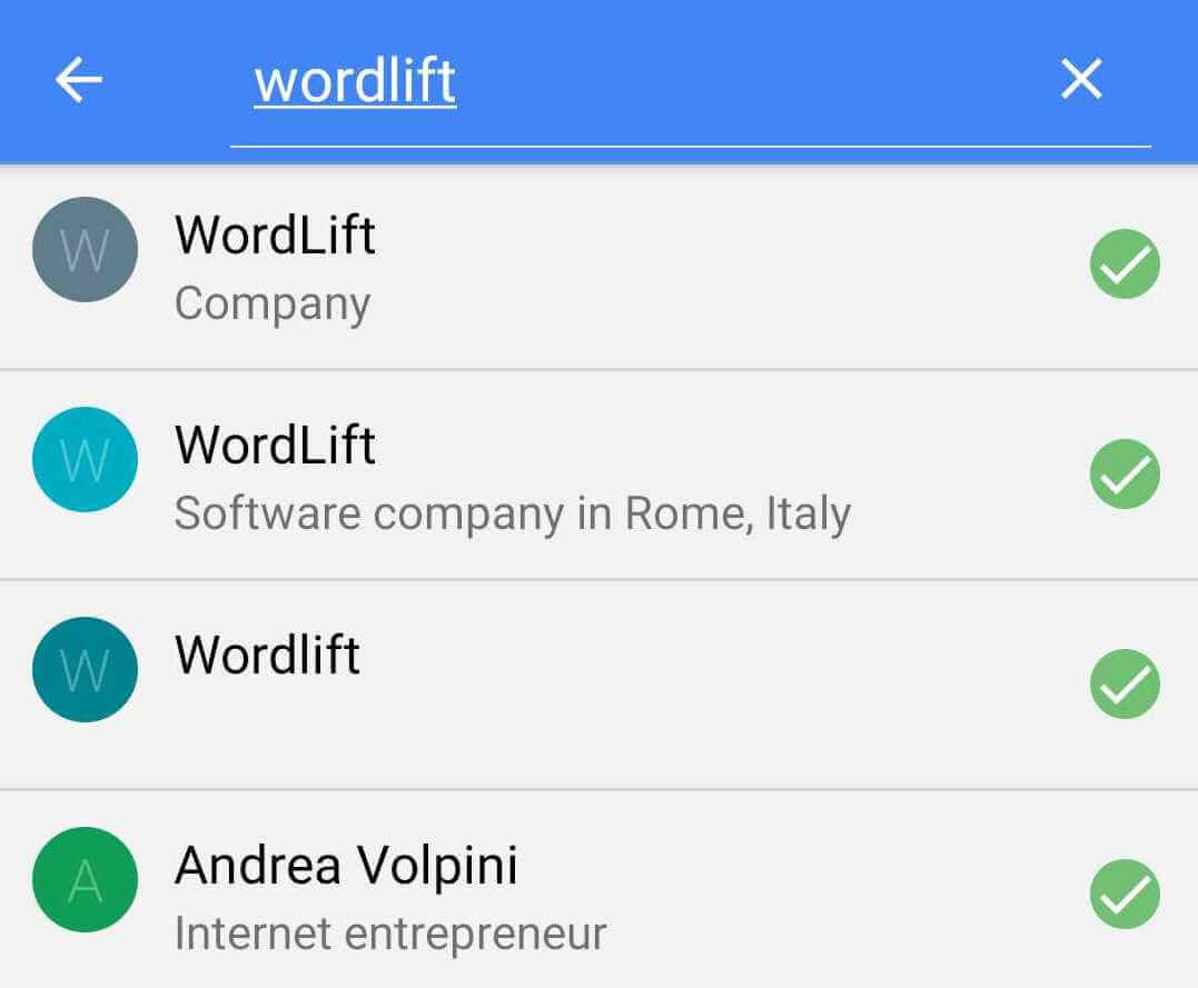 Results for WordLift