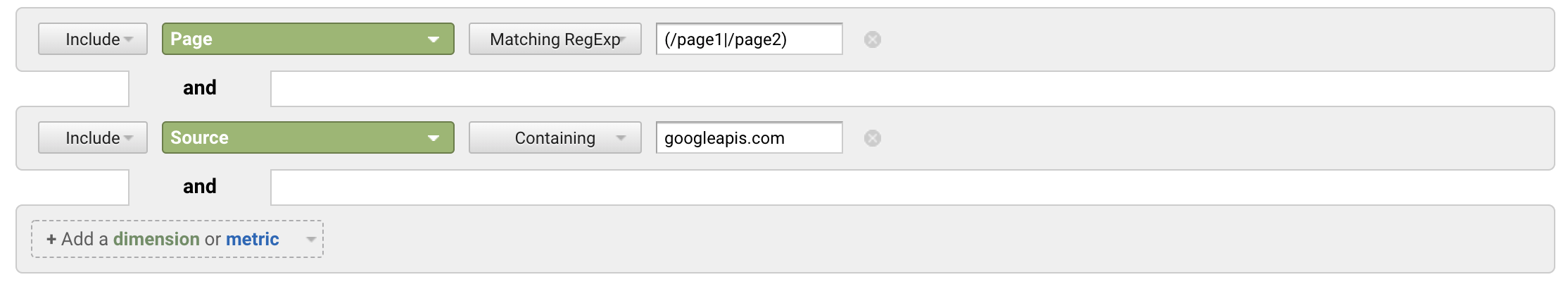 Filtering all pages that have received traffic from Discover in Google Analytics
