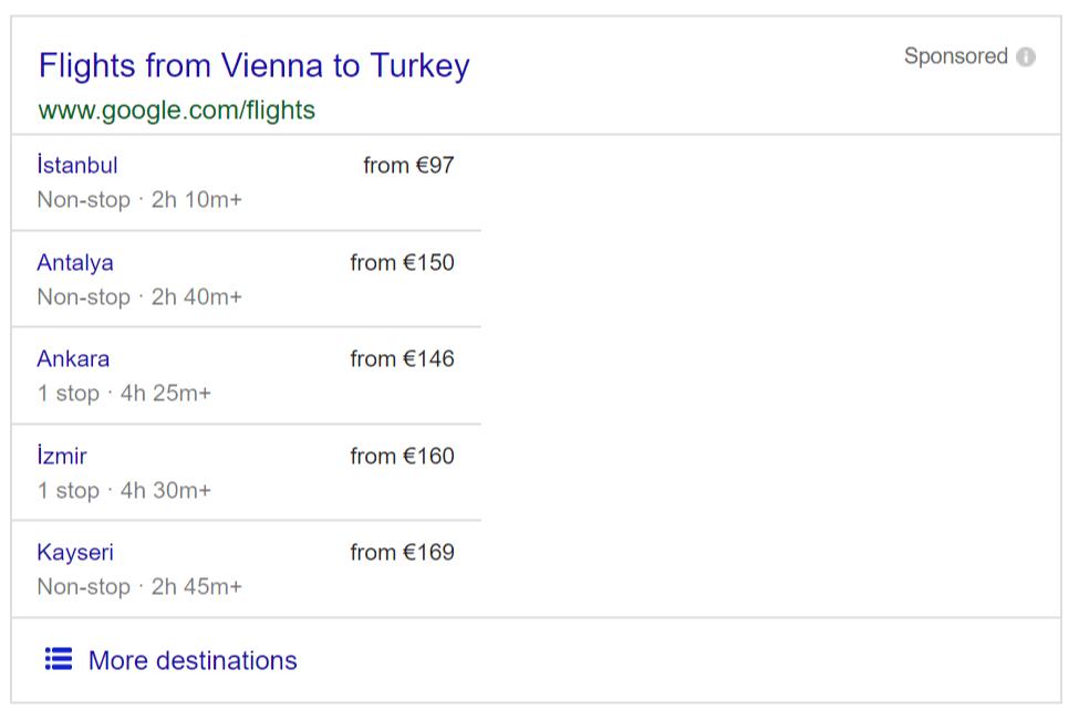 Google Flights snippet displayed on SERP