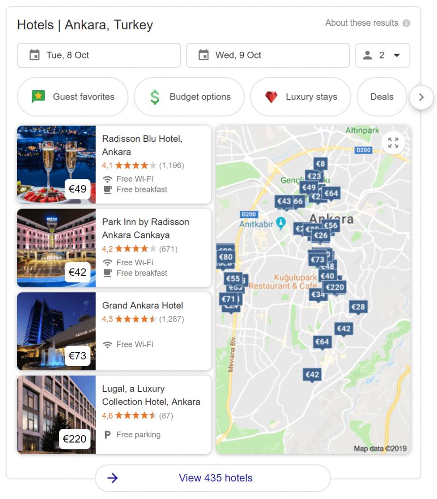 Google Hotels rich snippet on SERP