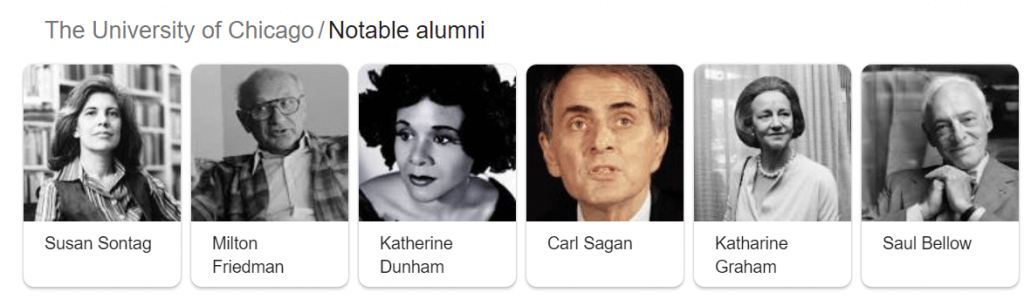 Featured example of the knowledge graph carousel