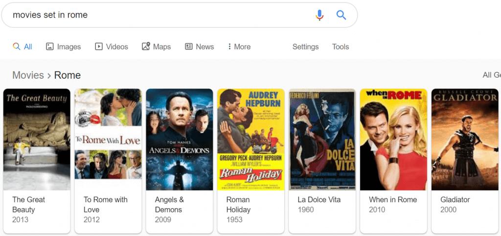 Movie carousel SERP example