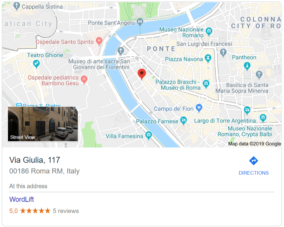 A Places and Maps rich snippet example