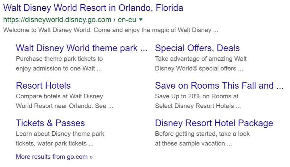 Site links for DisneyWorld