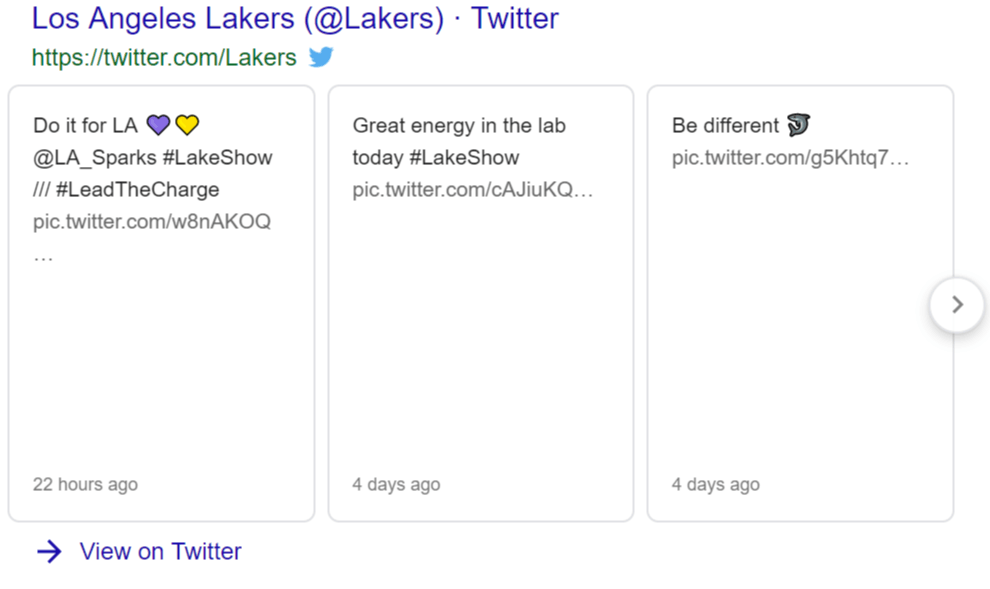 Twitter box featured on a SERP
