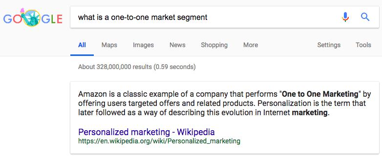 one-to-one market segment
