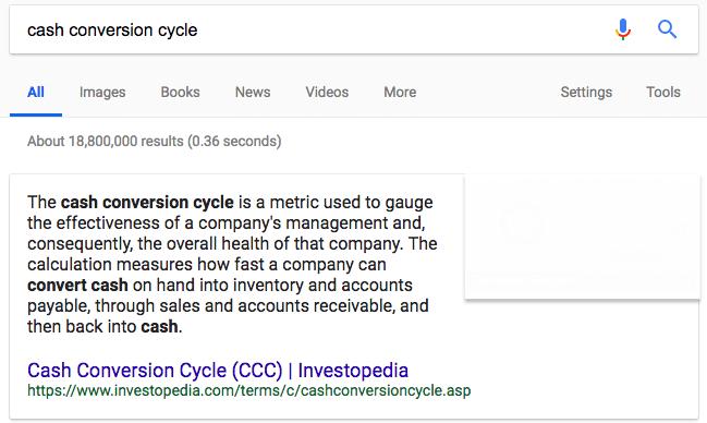 screenshot cash conversion cycle