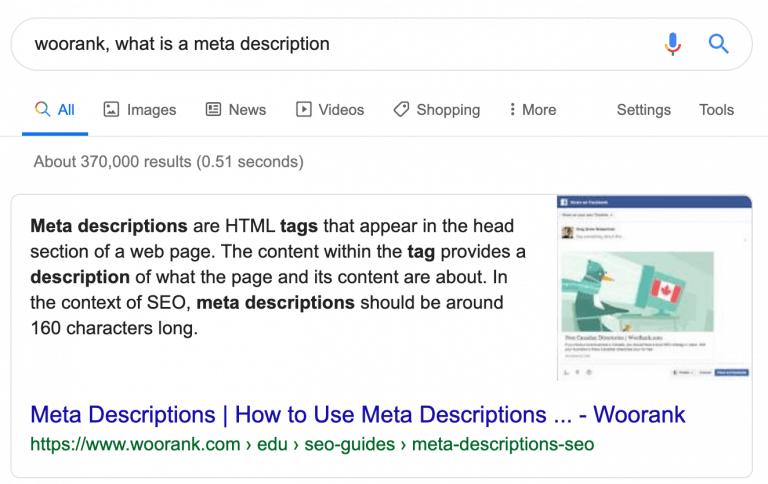 Cosa sono le Meta Description per Woorank